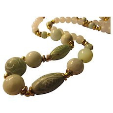"""Etched and Smooth White and Celadon Green Jade Bead Necklace, 26"""""""