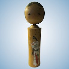"9 3/4"" Signed Vintage Japanese Kokeshi Doll with Hand Painted Geisha"