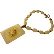 """Golden Pig Chalcedony Charm on White Jade Bead Bracelet with 14-KGF Beads, 71/2"""""""