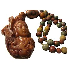 """Brown Jade Goddess of Mercy Pendant with Dzi-Picasso and Red Jasper Bead Necklace, 26"""""""