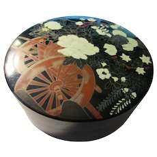 Black Lacquer Box with White Peony-Iris-Chrysanthemum Blossoms Over Red Cart Wagon, 4 1/2""