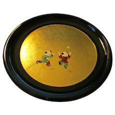 Gold Gilded Black Lacquer Dessert Plates, Set of 5