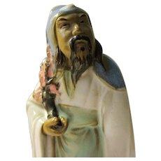 "Old Chinese Mudman Figurine of Scholarly Sage Holding Plum Blossom Branch, 5 1/4"""