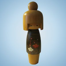 "8 1/2"", Usaburo Style Light Wood Japanese Kokeshi Doll with Plum Blossom Kimono"
