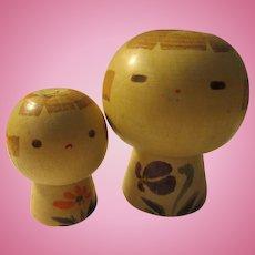 "2 3/4"" 2"", Mama and Baby Light Wood Mushroom Shape Kokeshi Dolls, Set of 2"