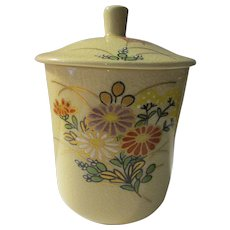 """Japanese Crackled Ceramic Teacup and Lid with Hand Painted """"Kiku"""" Chrysanthemum Bouquet"""