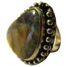 Fire Labradorite Gemstone Finger Ring, Size 8