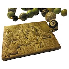"""Chinese Dragon Jade Pendant with Jade and Gemstone Bead Necklace, 19"""""""