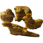 Collectible Menagerie of Carved Soapstone Animals, Set of 4