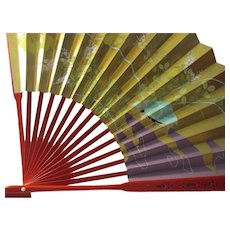 Golden Ginko Leaves with Silver Clouds Japanese Fan with Red Lacquer-like Handle