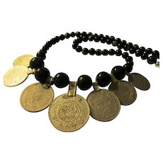 """Middle Eastern Vintage Silver Tone Metal Coins with Black Agate Bead Necklace, 22"""""""