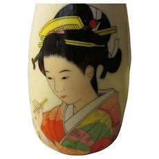 Japanese Kutani Ceramic Ware Sake Bottle with Geisha