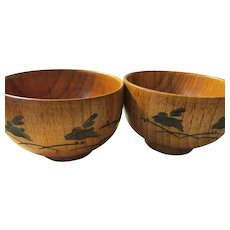 Japanese Hand Turned Wooden Bowls with Hopping Bunny Rabbit Motifs, Set of 2