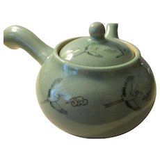 "Celadon Green Ceramicware Side Handle Teapot with Flying ""Tsuru"" Cranes, 8"""
