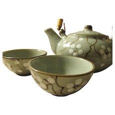 White Sakura Blossoms on Gray Ceramic Teapot with Matching Teacups