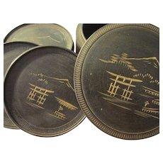 Old Hand Tooled Japanese Wooden Coaster Set with Mt. Fuji Etching