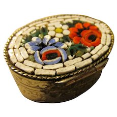 Italian Mosaic Inlay Mini Pill Box