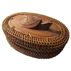 Indonesian Lombok Island Hand Woven Reed Basket with Carved Wood Sea Turtle Lid