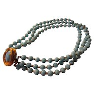 "Mid-Century Philip Hulitar Original Robin Egg Blue Glass Bead Triple-Strand Choker Necklace, 16"""