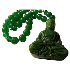 Green Jade Buddha Pendant with Green Jade Bead Necklace, 20""