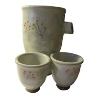 Handcrafted Japanese Pottery Ware of Sake Vessel with Matching Cups, Set of 3