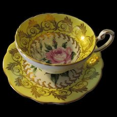 18EB50 Foley Bone China Lemon Yellow Teacup and Saucer Set with Pink Roses and Gold Gilt, c. 1940s