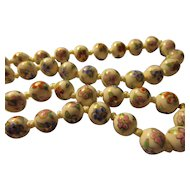 """Vintage Hand Painted Chinese White Porcelain Bead Necklace with Floral Motif, 22"""""""