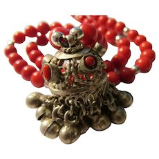 """Tibetan Silver Bell Amulet with Red Coral Bead Necklace, 20"""""""