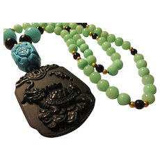 """Mythical Dragon-Turtle Obsidian Pendant with Amazonite Bead Necklace, 24"""""""