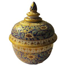 "Hand Painted Raised Relief Siamese Two-Piece Keepsake Jar, 3 1/2"""