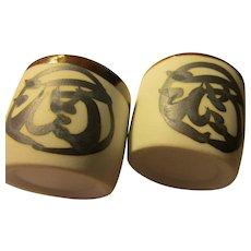 "Japanese Rustic Pottery Sake Cups with Daruma Motif, 1 1/2"", Set of 2"