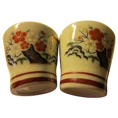 """Japanese Ceramic Sake Cups with """"Ume"""" Plum Blossoms, 2"""", Set of 2"""