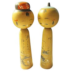 "3 1/4"", Islands in the Sea Japanese Kokeshi Couple"