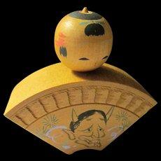 """2 1/4"""", Fan Shape Japanese Wooden Kokeshi with Demon Motif"""