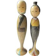 "3 1/4"", Two Tall Country Women Japanese Kokeshi Dolls"