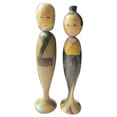 "3 1/4"", Two Tall Country Women Japanese Kokeshi Dolls"