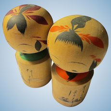 "2 1/8"", Persimmon and Teal Japanese Kokeshi Doll Couple"