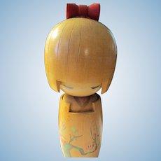 """6 1/2"""", """"Ume"""" Plum Blossom Usaburo Girl Kokeshi Doll"""