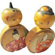 """2"""", Japanese Hand Painted Feudal Lord and Lady Wooden Kokeshi Doll Couple"""