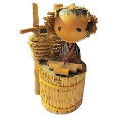 "4"", Folk Art Straw Farmer Japanese Kokeshi Doll"