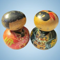 "1 3/4"", Roly Poly Japanese Kokeshi Couple"