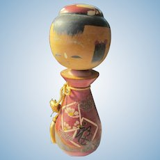 """4 1/2"""", Wooden Red Flask Shape Japanese Girl Kokeshi Doll"""