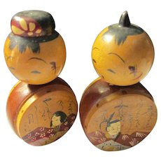 """2 1/8"""", Japanese Hand Painted Kokeshi Dolls of Feudal Lord and Lady"""