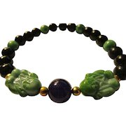 Green Czech Buddha Charms with Black Agate and Green Jade Bead Bracelet