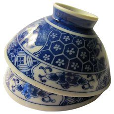 """Blue and White Japanese """"Chawan"""" Rice Bowl, Set of 2"""