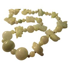 """Asian Zodiac Hand Carved Jade Animal Charm and Bead Necklace, 21"""""""