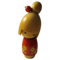 "5 1/2"", Red Plum Blossom Kokeshi Doll by Artist Sato Suigai, circa 1972"