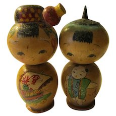 """2"""", Japanese Kokeshi Couple with Hand Painted Good Fortune Boat and Baby Themes, Set of 2"""