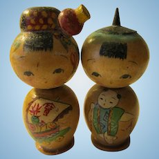 "2"", Japanese Kokeshi Couple with Hand Painted Good Fortune Boat and Baby Themes, Set of 2"