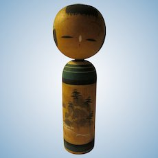 """4 1/4"""", Japanese Kokeshi Doll of Lighthouse at Craggy Cliffside"""